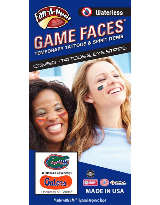 CP-14-R_Fr - University of Florida (UF) Gators - Waterless Peel & Stick Temporary Tattoos - 12-Piece Combo - 8 Green/Orange/Blue Gator Head Oval Spirit Tattoos & 4 Blue/White Gators on Orange iEye Strips
