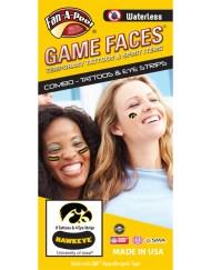 CP-26-R_Fr - University of Iowa (UI) Hawkeyes - Waterless Peel & Stick Temporary Tattoos - 12-Piece Combo - 8 Black/Gold Tigerhawk Logo Spirit Tattoos & 4 Gold Tigerhawk Logo on Black Eye Strips