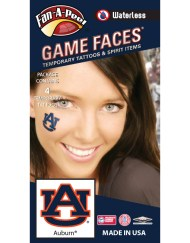 W-C-12_Fr - Auburn University (AU) Tigers - Waterless Peel & Stick Temporary Spirit Tattoos - 4-Piece - Burnt Orange/Navy Blue AU Logo