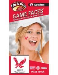 W-C-239_Fr - Eastern Washington University (EWU) Eagles - Waterless Peel & Stick Temporary Spirit Tattoos - 4-Piece - Red W Logo