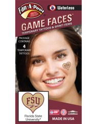 W-C-HRT-13_Fr - Florida State (FSU) Seminoles - Waterless Peel & Stick Temporary Spirit Tattoos - 4-Piece - Garnet FSU Logo on Gold Heart