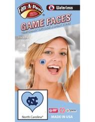 W-C-HRT-20-R_Fr - University of North Carolina (UNC) Tar Heels - Waterless Peel & Stick Temporary Spirit Tattoos - 4-Piece - Blue NC Logo on Light Blue Heart