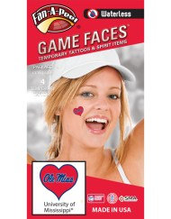 W-C-HRT-30_Fr - University of Mississippi (Ole Miss) Rebels - Waterless Peel & Stick Temporary Spirit Tattoos - 4-Piece - Navy Blue Ole Miss on Red Heart