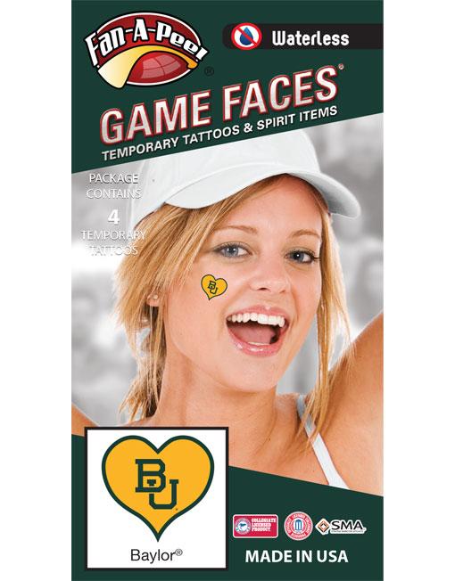 W-C-HRT-40-R_Fr - Baylor University Bears - Waterless Peel & Stick Temporary Spirit Tattoos - 4-Piece - Green BU Logo on Gold Heart
