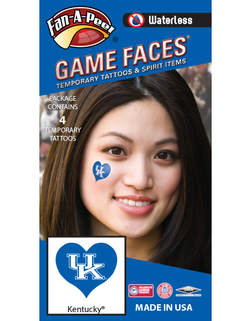W-C-HRT-49-R_Fr - University of Kentucky (UK) Wildcats - Waterless Peel & Stick Temporary Spirit Tattoos - 4-Piece - White UK Logo on Blue Heart