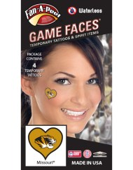 W-C-HRT-96_Fr - University of Missouri (MU) Tigers - Waterless Peel & Stick Temporary Spirit Tattoos - 4-Piece - Truman Tiger Head Logo on Gold Heart