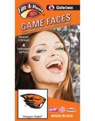 W-CB-184-R_Fr - Oregon State University (OSU) Beavers - Waterless Peel & Stick Temporary Spirit Tattoos - 4-Piece - Orange Beaver Head Logo