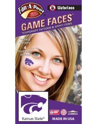 W-CB-92_Fr - Kansas State University (KSU) Wildcats - Waterless Peel & Stick Temporary Spirit Tattoos - 4-Piece - Purple Willie Cat Head Logo