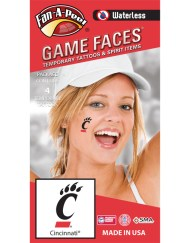 W-CF-133_Fr - University of Cincinnati (UC) Bearcats - Waterless Peel & Stick Temporary Spirit Tattoos - 4-Piece - Black C Paw Logo