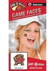 W-CF-51-R_Fr - University of Maryland (UMCP) Terrapins - Waterless Peel & Stick Temporary Spirit Tattoos - 4-Piece - Testudo Logo