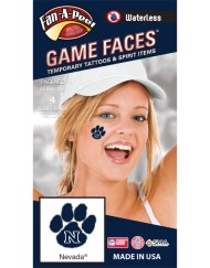 W-CH-146-R_Fr - University of Nevada Reno (UNR) Wolf Pack - Waterless Peel & Stick Temporary Spirit Tattoos - 4-Piece - White N on Blue Paw Print