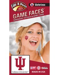 W-CH-28_Fr - Indiana University (IU) Hoosiers - Waterless Peel & Stick Temporary Spirit Tattoos - 4-Piece - Crimson IU Logo