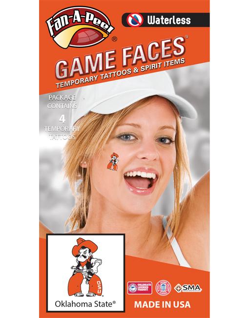 W-CH-61_Fr - Oklahoma State University (OSU) Cowboys - Waterless Peel & Stick Temporary Spirit Tattoos - 4-Piece - Orange/Black Pistol Pete Logo