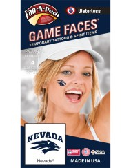 W-CI-146-R_Fr - University of Nevada Reno (UNR) Wolf Pack - Waterless Peel & Stick Temporary Spirit Tattoos - 4-Piece - Blue Nevada Wolf Head Logo