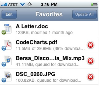 drop box document sharing iPhone app