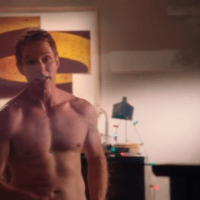 "Sebastian Stan as T.J. Hammond and David Monahan as Sean Reeves shirtless in Political Animals 1x04 ""Lost Boys"""