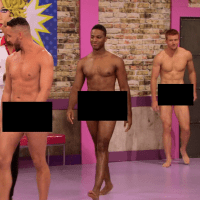 "RuPaul's Drag Race (season 7) Scruff Pit Crew shirtless/naked in 7x01 ""Born Naked"""