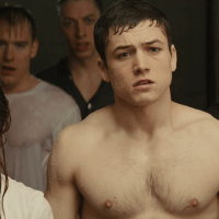 "Taron Egerton as Gary ""Eggsy"" Unwin shirtless in Kingsman: The Secret Service"