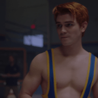 "KJ Apa as Archie Andrews & Jordan Calloway as Chuck Clayton shirtless and bonus Casey Cott as Kevin Keller in Riverdale 2x11 ""Chapter Twenty-Four: The Wrestler"""