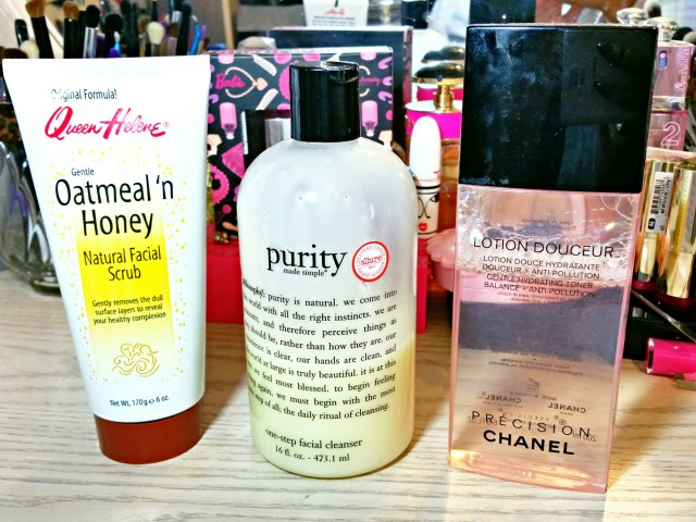 Queen Helene Oatmeal 'n Honey Natural Facial Scrub, Philosophy Purity Made Simple, Chanel Lotion Douceur Gentle Hydrating Toner