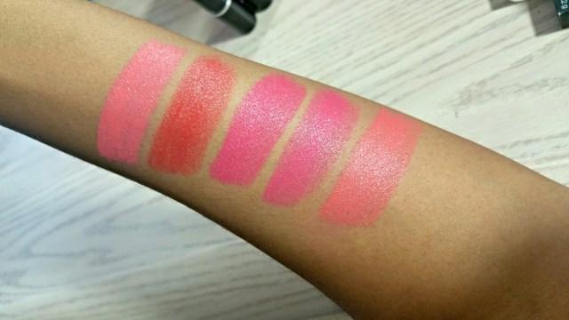 NARS Lodhi Satin Lip Pencil, Maybelline Rose Rush Rebel Bloom Lipstick, MAC Impassioned Lipstick, NYX Sweet Tart Butter Lipstick and MAC Vegas Volt Lipstick