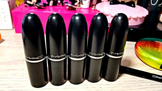 MAC Heroine Instigator Pink Pigeon Flat Out Fabulous All Fired Up Lipstick