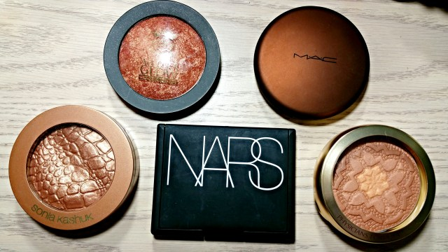 Sonia Kashuk Goddess Illuminating Bronzer, Ruby Kisses Bronze Glow All Over Glow Bronzing Powder, Physicians Formula Ultra Nourishing Argan Oil Bronzer, NARS Casino Bronzing Powder,  MAC Refined Golden Bronzing Powder