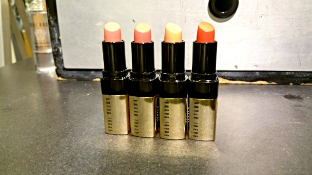 Bobbi Brown 20 Retro Coral, 21 Pink Guava, 24 Pale Coral, 29 Sunset Orange Luxe Lip Color