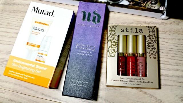 Ulta Black Friday Haul 2015: Murad Environmental Shield Skin Brightening Set, Urban Decay Brightening & Tightening Complexion Primer Potion, Still Eternal Love Liquid Lipstick Set