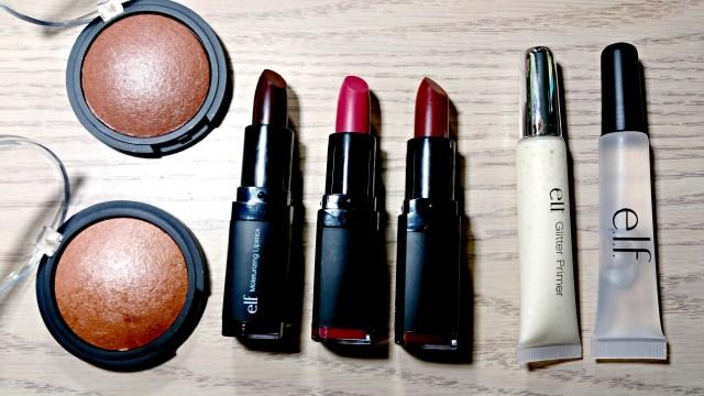 ELF Los Cabos Baked Bronzer, Bora Bora Baked Bronzer, Black Berry Moisturizing Lipstick, Berry Kiss Moisturizing Lipstick, Bordeaux Beauty Moisturizing Lipstick, Glitter Primer, Kiss It Goodbye Lip Color Remover