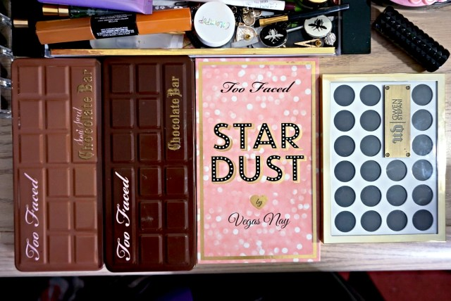 Best of 2015 Eyeshadow Palettes: Too Faced Chocolate Bar Palette, Too Faced Stardust Palette by Vegas Nay, Too Faced Semi-Sweet Chocolate Bar Palette, Urban Decay Gwen Stefani Eyeshadow Palette