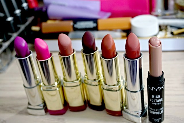 Best of 2015 Drugstore Lipstick: Maybelline Orchid Ecstasy Color Sensational Rebel Bloom Lipstick, MilanI Power Pink Color Statement Lipstick, Milani Matte Naked Color Statement Matte Lipstick, Milani Matte Beauty Color Statement Matte Lipstick, Maybelline Nude Nuance Color Sensational Matte Lipstick, NYX Stone High Voltage Lipstick