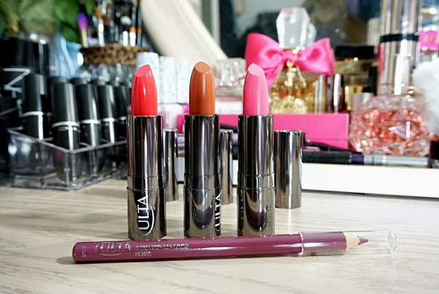 Ulta 255 Fuchsia Fun Weightless Lipstick, 206 Coral Glow Lipstick, 260 Blush Lately Weightless Lipstick, Berry Contour Lip Liner