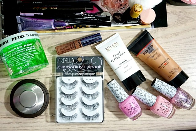 Fancie Faves: OPI Hello Kitty Collection, Becca Tobacco Perfect Skin Mineral Powder Foundation, Laura Geller Spackle Tinted Under Makeup Primer Bronze, Milani Prime Perfection Hydrating + Pore Minimizing Face Primer, Peter Thomas Roth Cucumber Gel Mask, NYX Cinnamon Roll Intense Butter Gloss, Ardell 105 Glamour Lashes