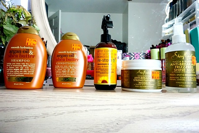 OGX Smooth Hydration Argan Oil & Shea Butter Shampoo & Conditioner, Jane Carter Solution Restore Moisture Mist, Shea Moisture Yucca & Plantain Anti-Breakage Strenghtening Masque, Yucca & Plantain Anti-Breakage Frizz-Free Shine Mist