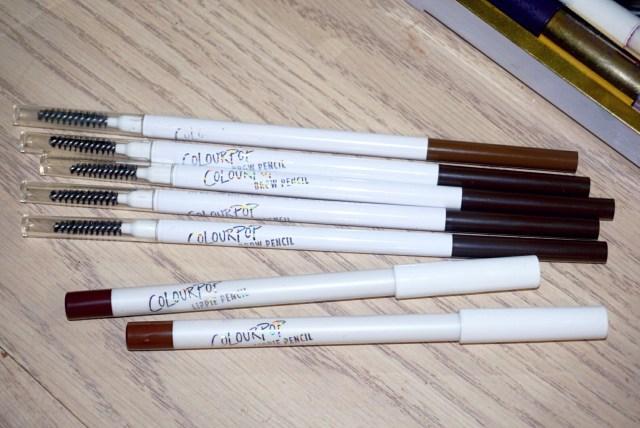 ColourPop Bangin' Brunette Brow Pencil, Black N Brown Brow Pencil, Creature Lippie Pencil, BFF3 Lippie Pencil