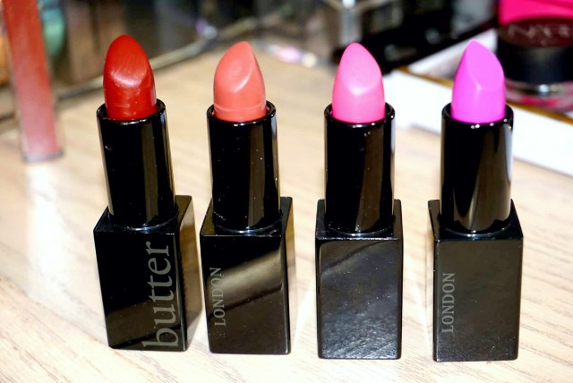 Butter London Provocative, Buzzed, Rebellious, !!! Plush Rush Lipstick Swatches on Dark Skin