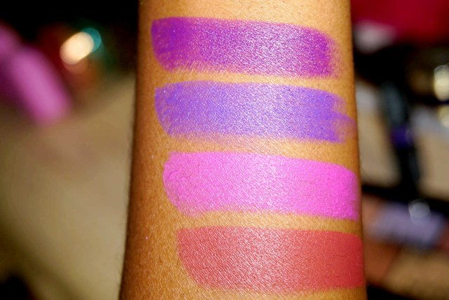 NYX Violet Voltage, Disorderly, Unicorn Fur, Charmed Velvet Matte Lipstick Swatches on Dark Skin