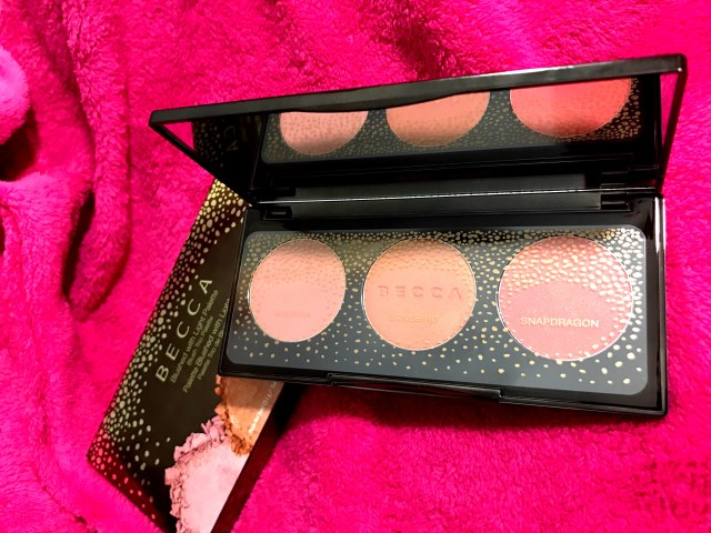 Becca Blushed with Light Palette; Wisteria, Songbird, Snapdragon Mineral Blush Swatches on Dark Skin