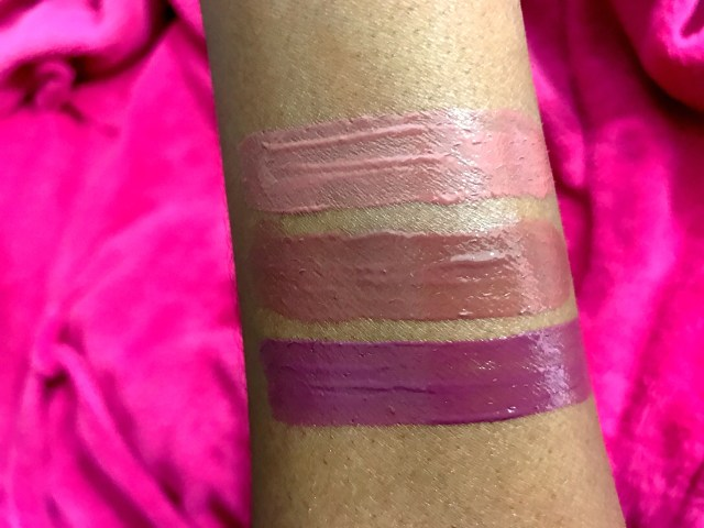Tarte Tarteist Glossy Lip Paint in Double Tap, Snap, Slay Swatches on Dark Skin