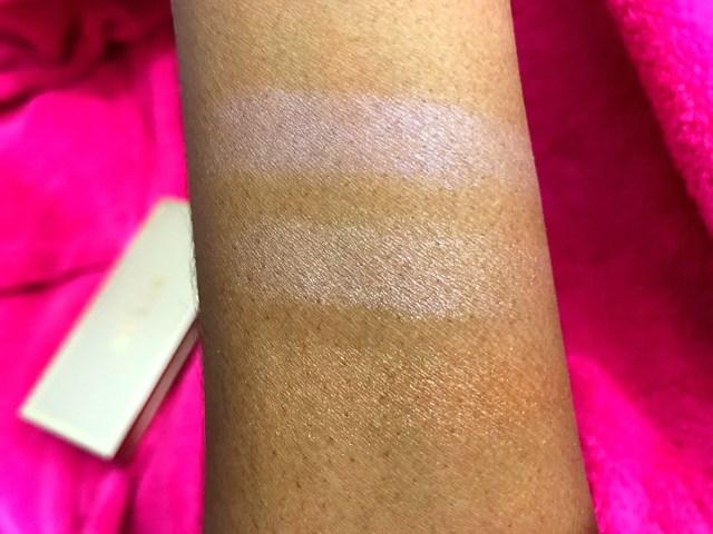 Stila Star Light, Star Bright Highlighting Palette Swatches on Dark Skin
