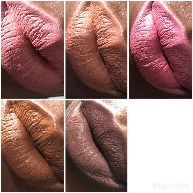 NYX Tea and Cookies, Sandstorm, Soft-Spoken, Brooklyn Thorn, Downtown Beauty Liquid Suede Cream Lipstick Swatches on Dark Skin