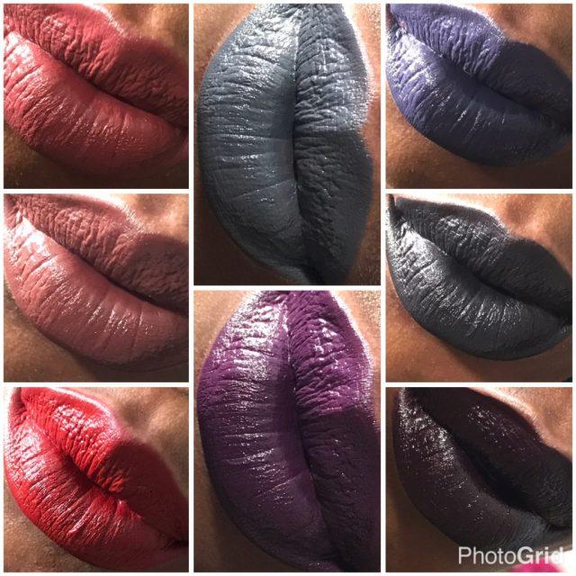NYX Vintage, Club Hopper, Cherry Skies, Stone Fox, Subversive, Foul Mouth, Alien and Oh Put It On Liquid Suede Cream Lipstick Swatches on Dark Skin