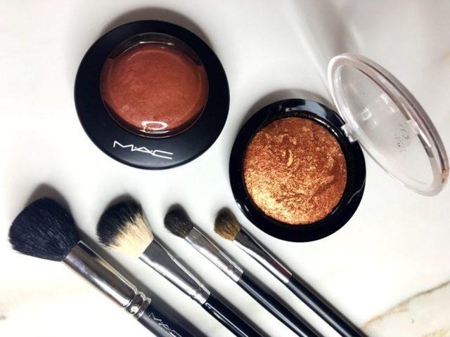 MAC Taraji Glow Mineralize Skinfinish and Makeup Revolution Rock on World Vivid Baked Bronzer Swatches on Dark Skin