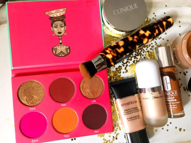 Fancie Faves: Juvia's Place Saharan Blush Palette Volume I, Smashbox Photo Finish Radiance Primer, Marc Jacobs Dew Drops Coconut Gel Highlighter, Clinique Beyond Perfecting Foundation + Concealer, Michael Todd SonicBlend Sonic Makeup Brush