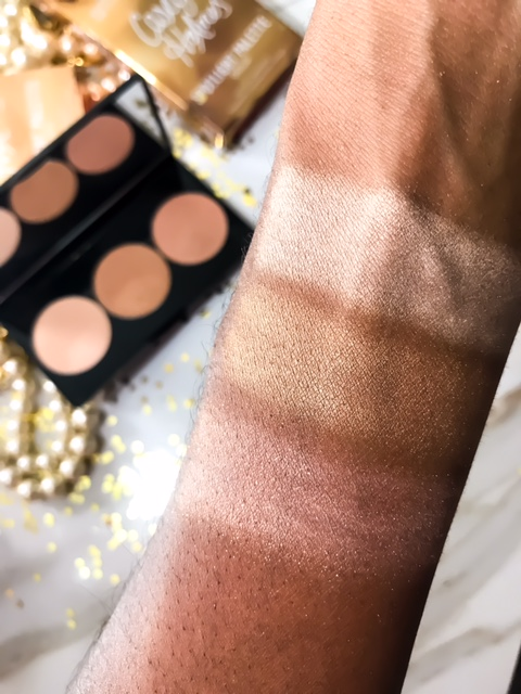 Smashbox x Casey Holmes Spotlight Highlight Palette in Pearl Swatches on Dark Skin