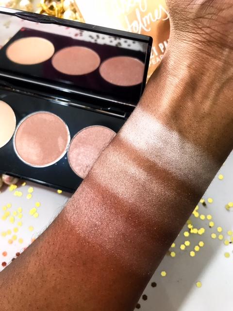 Smashbox x Casey Holmes Spotlight Highlight Palette in Gold Swatches on Dark Skin