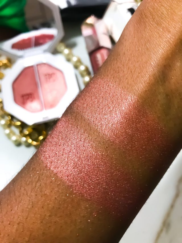 Fenty Beauty by Rihanna Killawatt Freestyle Highlighter in Ginger Binge/Moscow Mule Swatches on Dark Skin