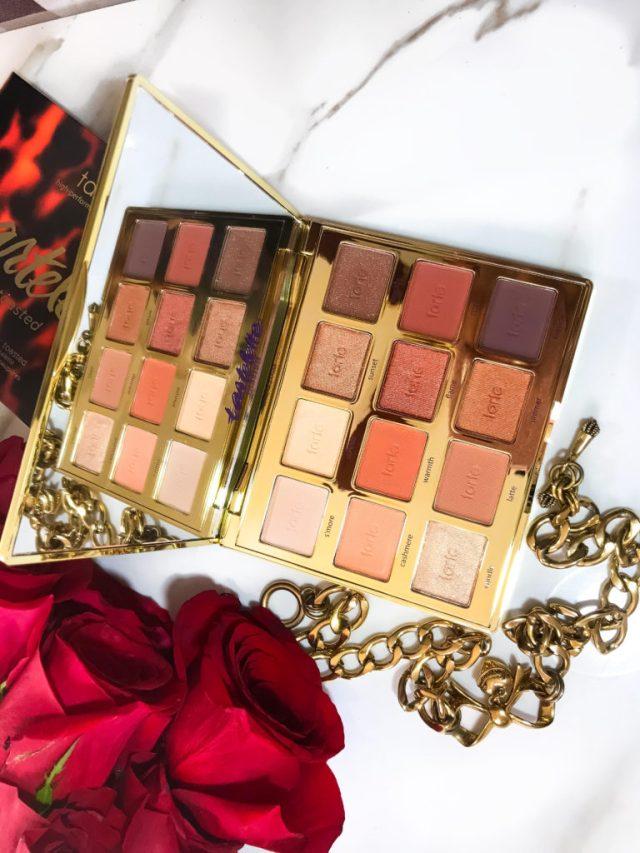 Makeup Palettes for Christmas: Tarte Tartelette Toasted Eyeshadow Palette Swatches on Dark Skin