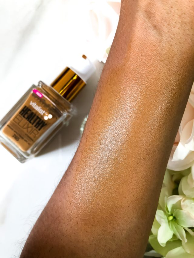 CoverGirl Vitalist Healthy Elixir Foundation Review in 765 Tawny Swatches on Dark Skin